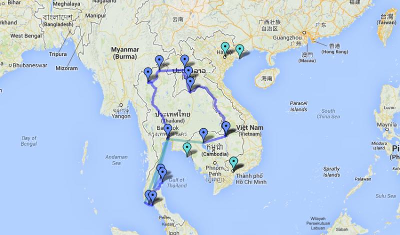 Itinéraire backpack en asie du sud est : Thailande, Laos et Cambodge